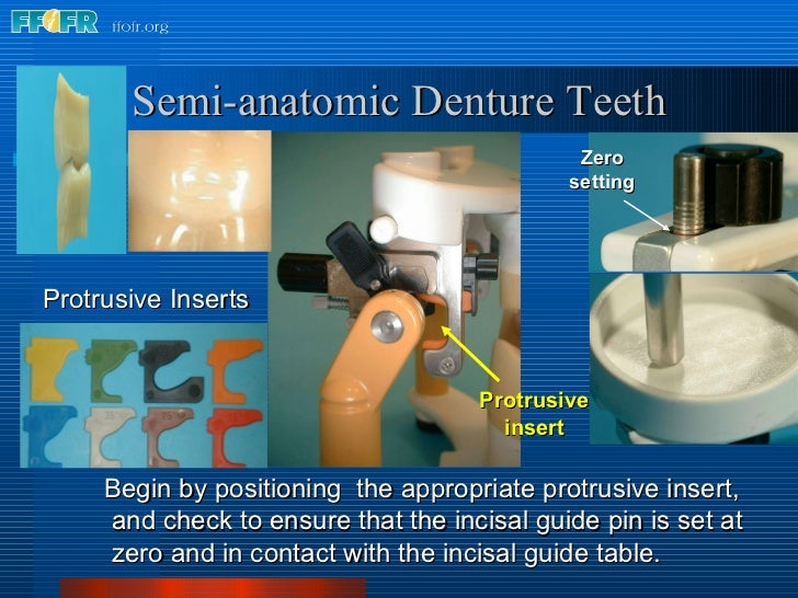 Semi-anatomic Denture Teeth Begin by positioning  the appropriate protrusive insert,  and check to ensure that the incisal...