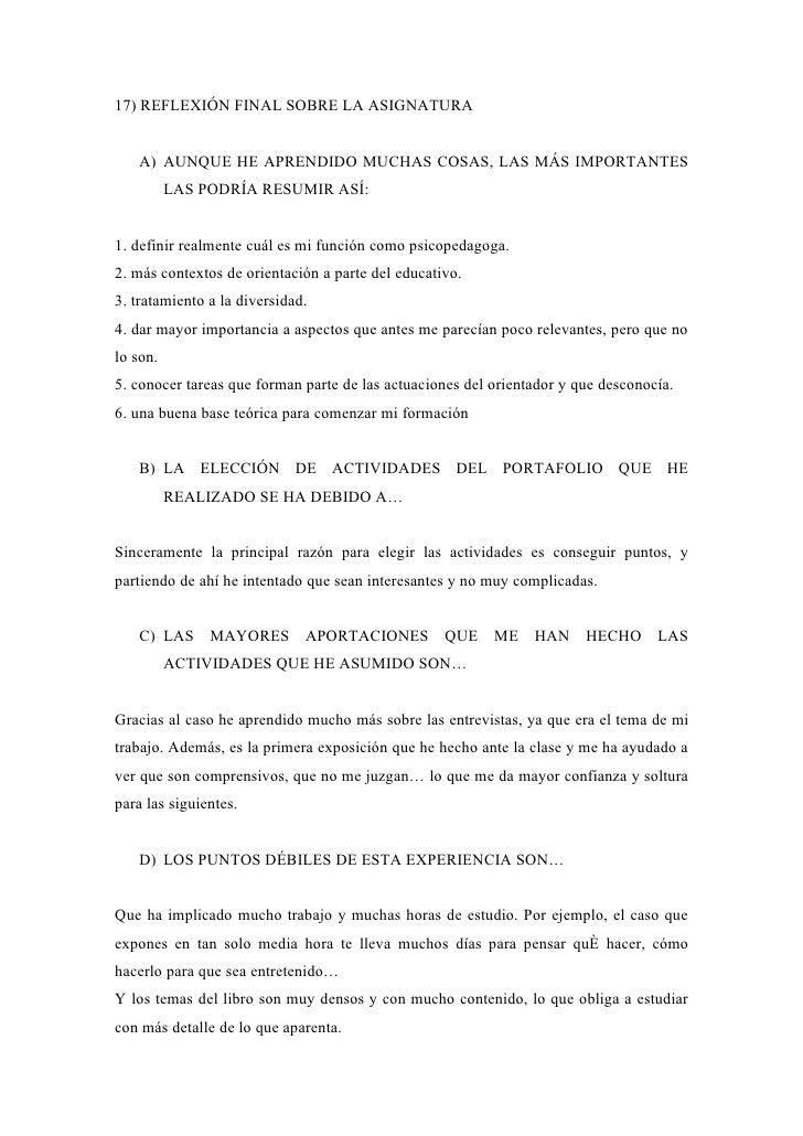 17) REFLEXIÓN FINAL SOBRE LA ASIGNATURA      A) AUNQUE HE APRENDIDO MUCHAS COSAS, LAS MÁS IMPORTANTES           LAS PODRÍA...