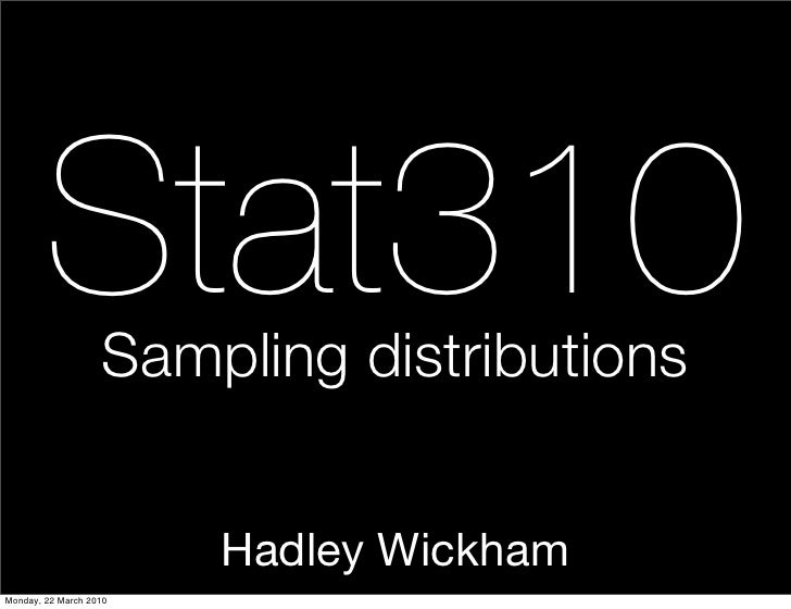Stat310    Sampling distributions                           Hadley Wickham Monday, 22 March 2010