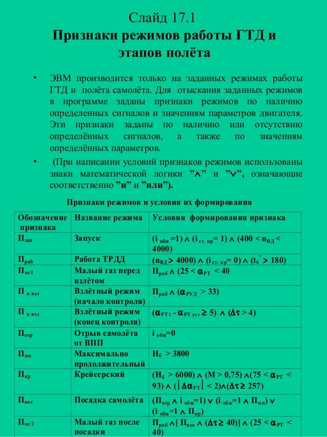 Слайд 17.1 Признаки режимов работы ГТД и этапов полёта •  •  ЭВМ производится только на заданных режимах работы ГТД и полё...