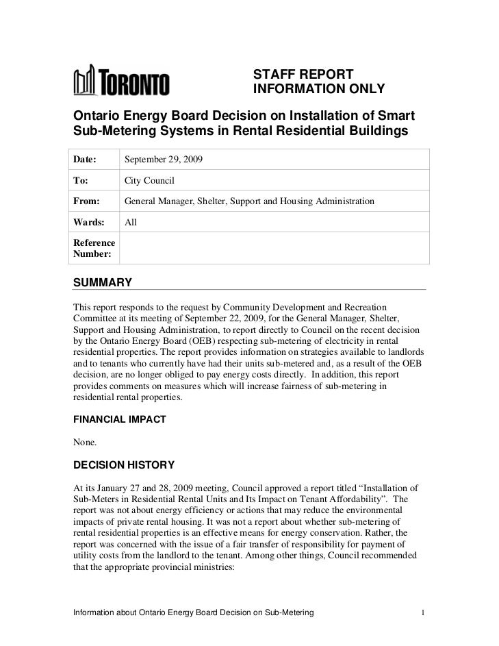 STAFF REPORT                                               INFORMATION ONLYOntario Energy Board Decision on Installation o...