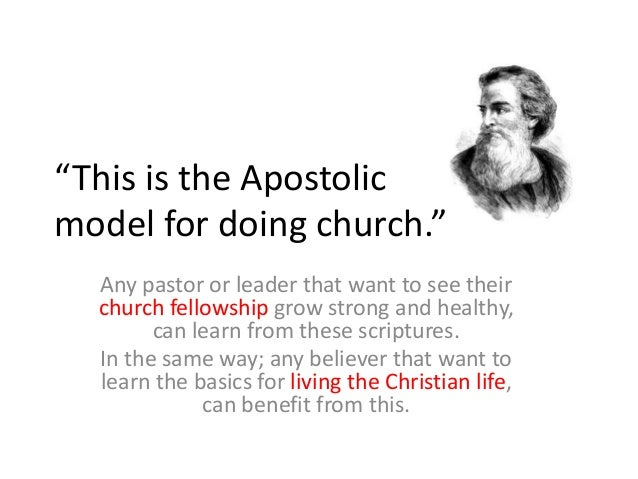 """""""This is the Apostolic model for doing church."""" Any pastor or leader that want to see their church fellowship grow strong ..."""