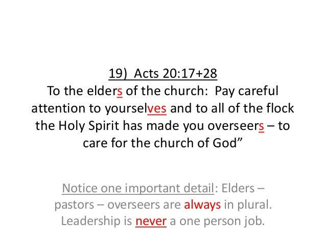 19) Acts 20:17+28 To the elders of the church: Pay careful attention to yourselves and to all of the flock the Holy Spirit...