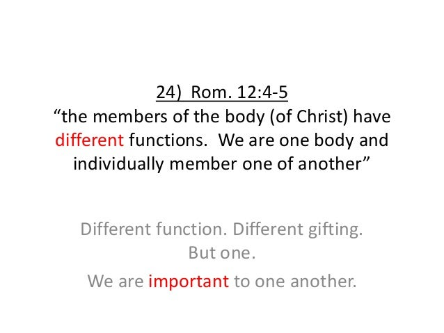 """24) Rom. 12:4-5 """"the members of the body (of Christ) have different functions. We are one body and individually member one..."""