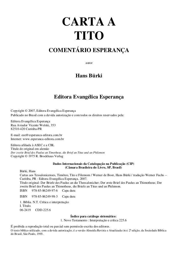 CARTA A                                           TITO                               COMENTÁRIO ESPERANÇA                 ...