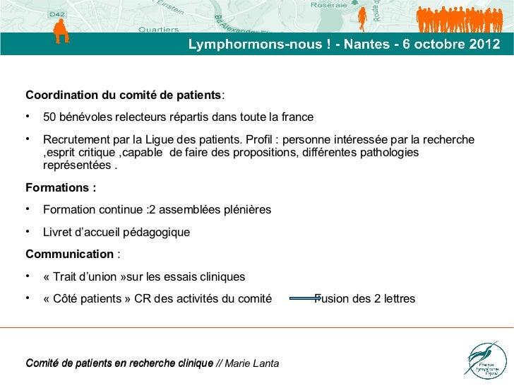 Marie Lanta : Comité de patients Slide 2