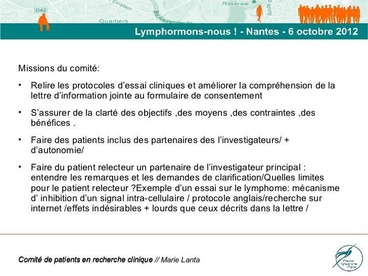 Marie Lanta : Comité de patients Slide 3