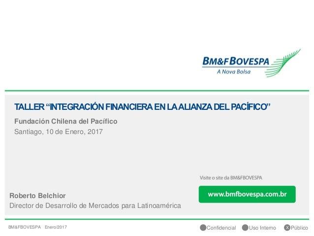 """1Confidencial Uso Interno Público Fundación Chilena del Pacífico Santiago, 10 de Enero, 2017 TALLER""""INTEGRACIÓNFINANCIERAE..."""