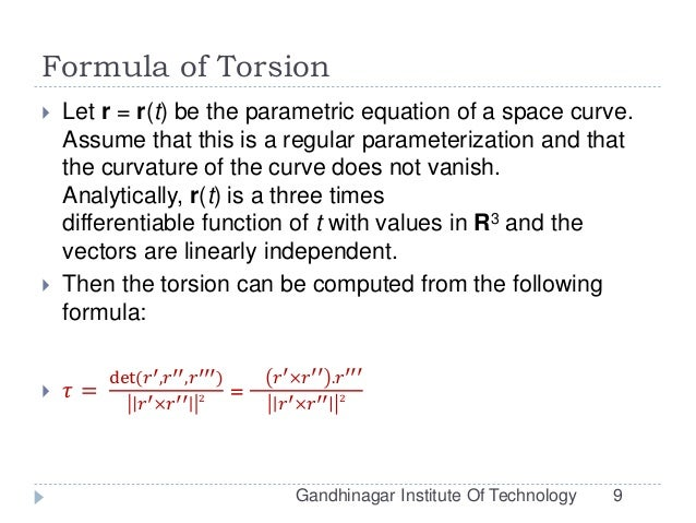 Arc Length, Curvature and Torsion