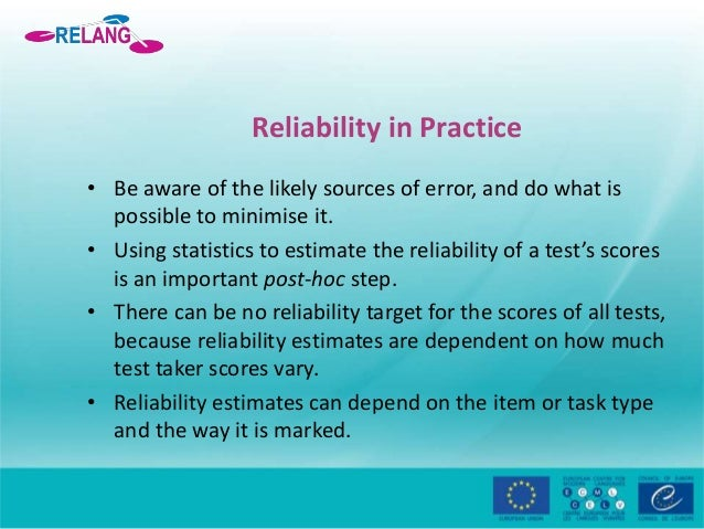 Language tests reliability and validity