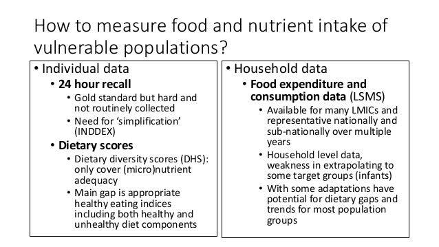 How to measure food and nutrient intake of vulnerable populations? • Individual data • 24 hour recall • Gold standard but ...