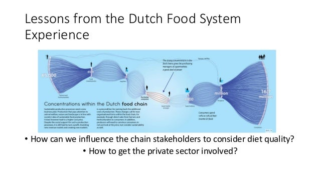 Lessons from the Dutch Food System Experience • How can we influence the chain stakeholders to consider diet quality? • Ho...