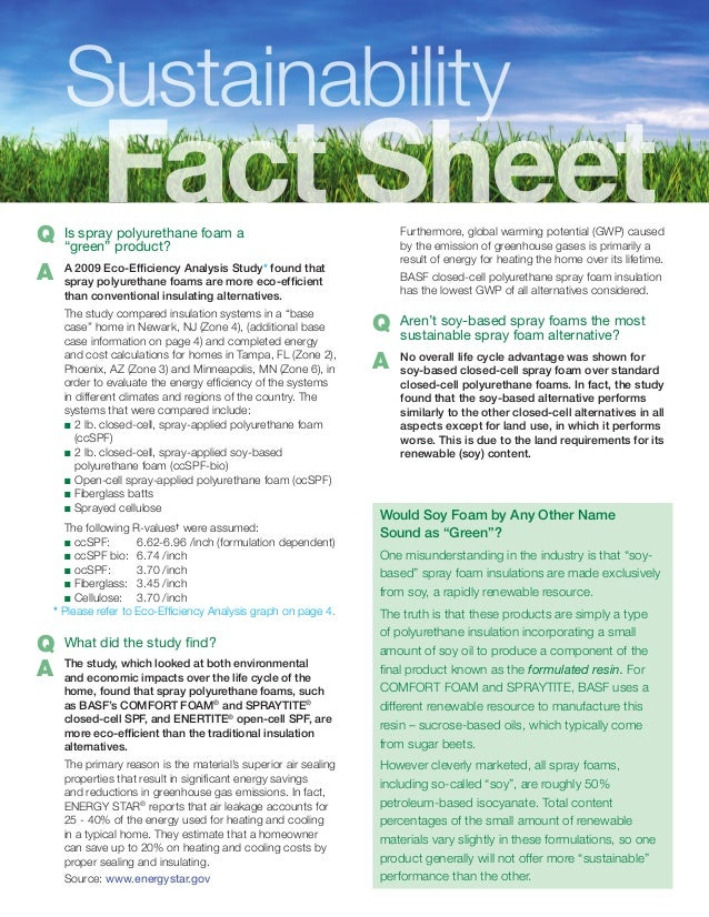 Spray Polyurethane Foam Sustainability Fact Sheet