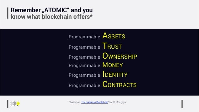 """Remember """"ATOMIC"""" and you know what blockchain offers* Programmable ASSETS Programmable TRUST Programmable OWNERSHIP Progr..."""