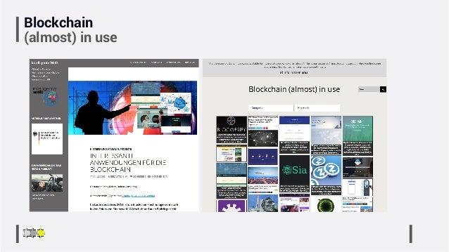 Blockchain (almost) in use
