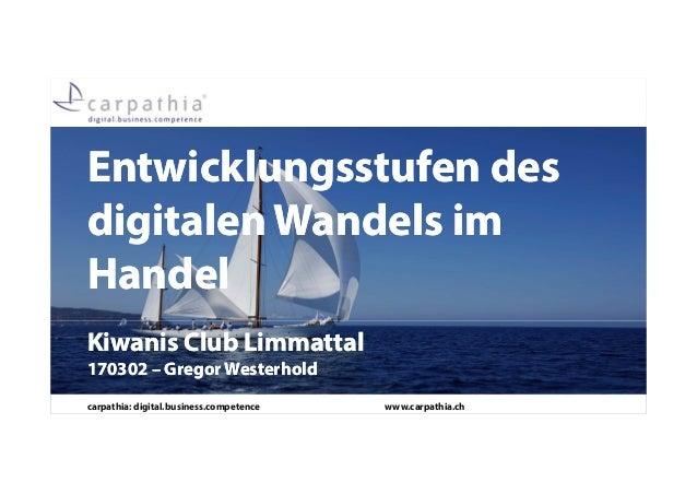 carpathia: digital.business.competence www.carpathia.ch Entwicklungsstufen des digitalen Wandels im Handel Entwicklungsstu...