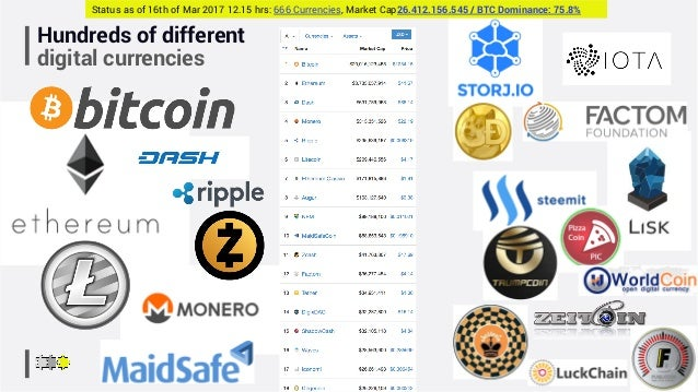 Hundreds of different digital currencies Status as of 16th of Mar 2017 12.15 hrs: 666 Currencies, Market Cap26.412.156.545...
