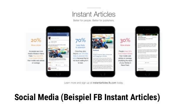 Social Media (Beispiel FB Instant Articles)