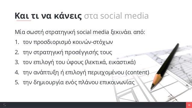 15 Μία σωστή στρατηγική social media ξεκινάει από: 1. τον προσδιορισμό κοινών-στόχων 2. την στρατηγική προσέγγισής τους 3....