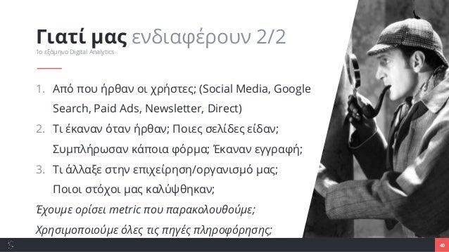 1. Από που ήρθαν οι χρήστες; (Social Media, Google Search, Paid Ads, Newsletter, Direct) 2. Τι έκαναν όταν ήρθαν; Ποιες σε...