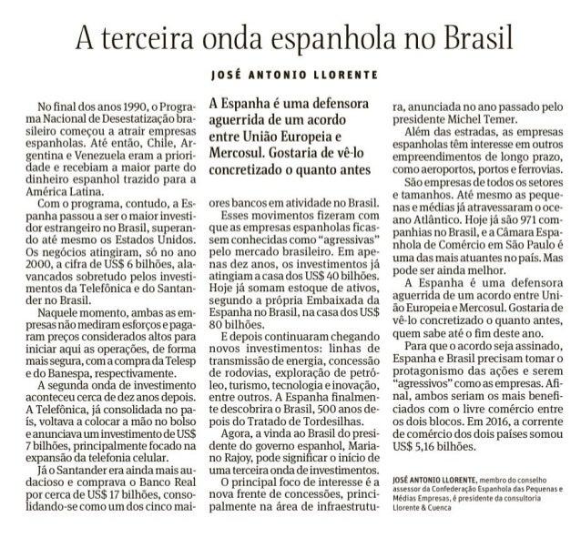 A terceira onda espanhola no Brasil