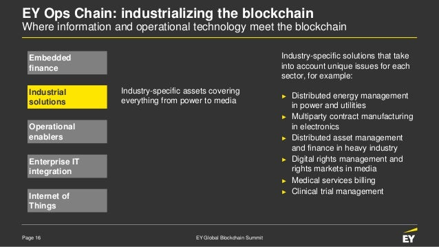 Page 16 EY Global Blockchain Summit EY Ops Chain: industrializing the blockchain Where information and operational technol...
