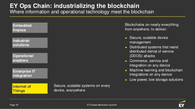 Page 19 EY Global Blockchain Summit EY Ops Chain: industrializing the blockchain Where information and operational technol...