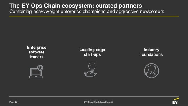 Page 22 EY Global Blockchain Summit The EY Ops Chain ecosystem: curated partners Combining heavyweight enterprise champion...