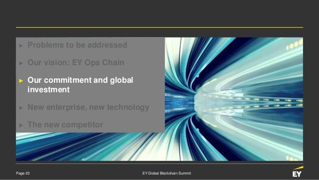 Page 23 EY Global Blockchain Summit ► Problems to be addressed ► Our vision: EY Ops Chain ► Our commitment and global inve...