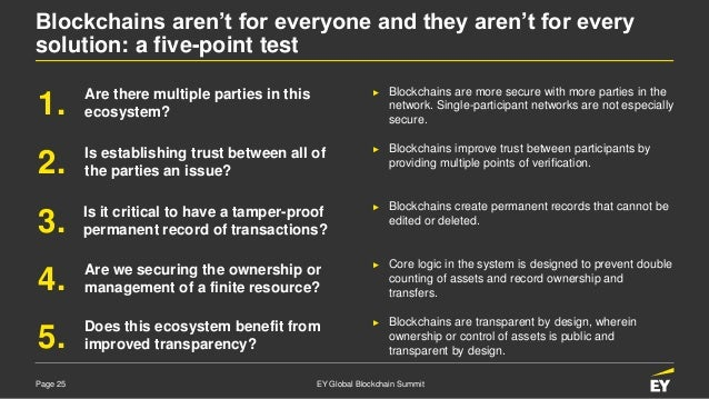 Page 25 EY Global Blockchain Summit Blockchains aren't for everyone and they aren't for every solution: a five-point test ...