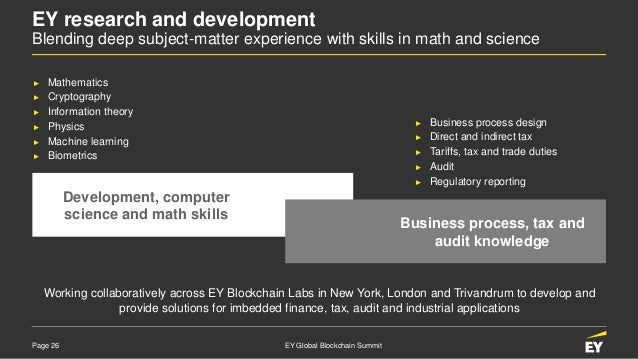 Page 26 EY Global Blockchain Summit EY research and development Blending deep subject-matter experience with skills in mat...