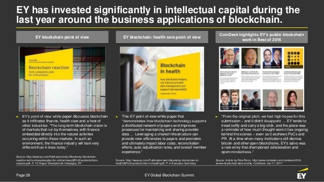 Page 28 EY Global Blockchain Summit EY has invested significantly in intellectual capital during the last year around the ...