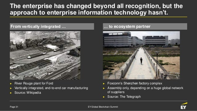 Page 31 EY Global Blockchain Summit The enterprise has changed beyond all recognition, but the approach to enterprise info...