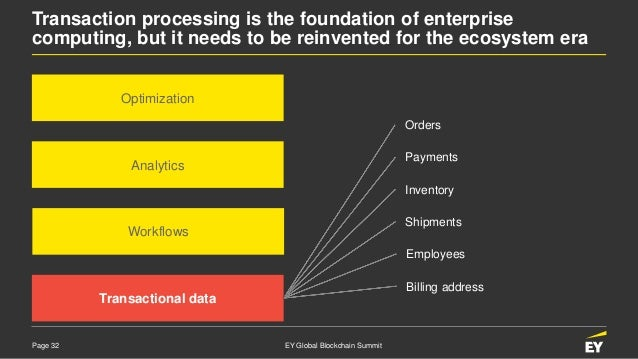 Page 32 EY Global Blockchain Summit Transaction processing is the foundation of enterprise computing, but it needs to be r...