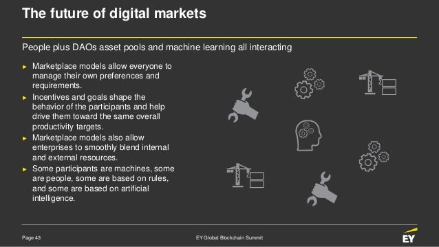 Page 43 EY Global Blockchain Summit The future of digital markets ► Marketplace models allow everyone to manage their own ...