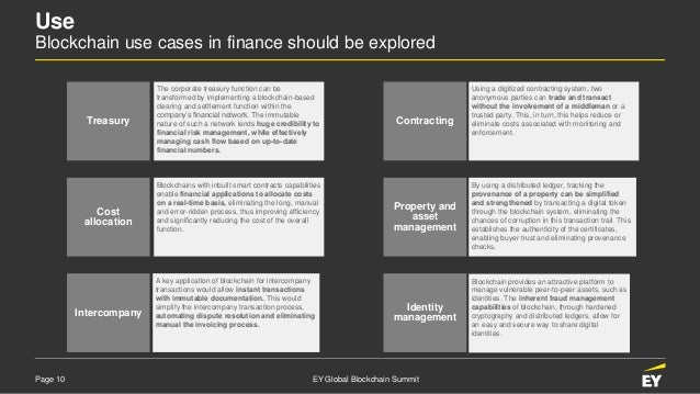 Page 10 EY Global Blockchain Summit Treasury Cost allocation Intercompany Contracting Property and asset management Identi...
