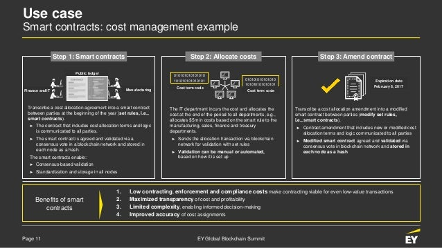 Page 11 EY Global Blockchain Summit Transcribe a cost allocation agreement into a smart contract between parties at the be...