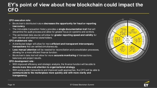 Page 19 EY Global Blockchain Summit EY's point of view about how blockchain could impact the CFO CFO execution role: ► Blo...