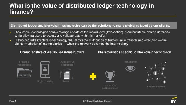 Page 4 EY Global Blockchain Summit What is the value of distributed ledger technology in finance? ► Blockchain technologie...