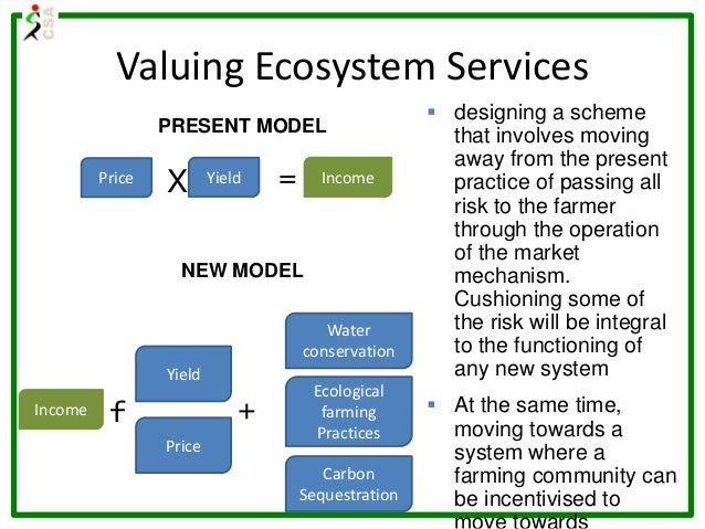 Price Yield X = Income PRESENT MODEL NEW MODEL Income f Yield Water conservation Carbon Sequestration Ecological farming P...