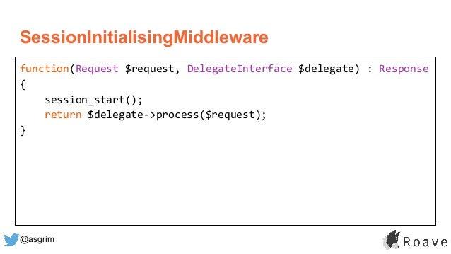 @asgrim SessionInitialisingMiddleware function(Request $request, DelegateInterface $delegate) : Response { session_start()...