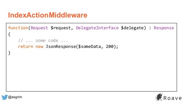 @asgrim IndexActionMiddleware function(Request $request, DelegateInterface $delegate) : Response { // ... some code ... re...
