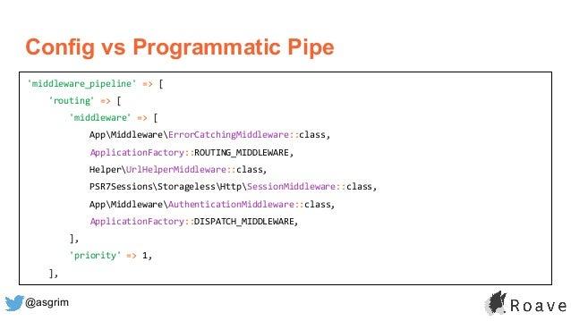 @asgrim Config vs Programmatic Pipe 'middleware_pipeline' => [ 'routing' => [ 'middleware' => [ AppMiddlewareErrorCatching...