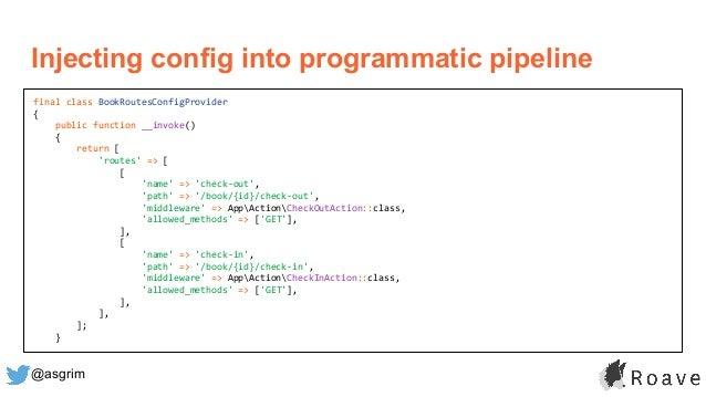 @asgrim Injecting config into programmatic pipeline final class BookRoutesConfigProvider { public function __invoke() { re...