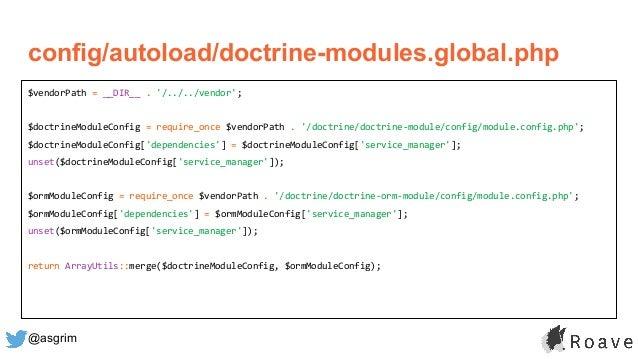 @asgrim config/autoload/doctrine-modules.global.php $vendorPath = __DIR__ . '/../../vendor'; $doctrineModuleConfig = requi...