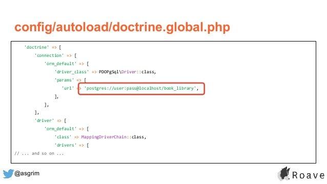 @asgrim 'doctrine' => [ 'connection' => [ 'orm_default' => [ 'driver_class' => PDOPgSqlDriver::class, 'params' => [ 'url' ...