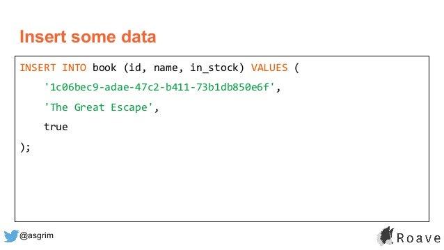 @asgrim Insert some data INSERT INTO book (id, name, in_stock) VALUES ( '1c06bec9-adae-47c2-b411-73b1db850e6f', 'The Great...