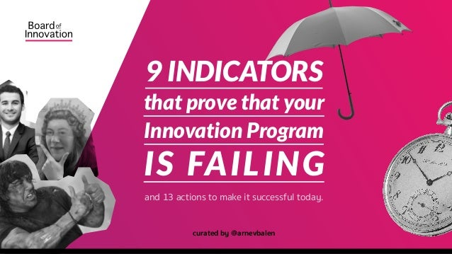 and 13 actions to make it successful today. curated by @arnevbalen 9 INDICATORS that prove that your Innovation Program IS...