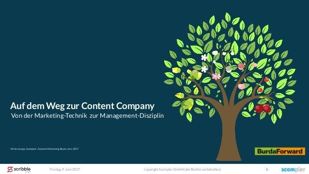 Freitag, 9. Juni 2017 copyright Scompler GmbH (alle Rechte vorbehalten) 1 Mirko Lange, Scompler, Content Marketing Beats, ...