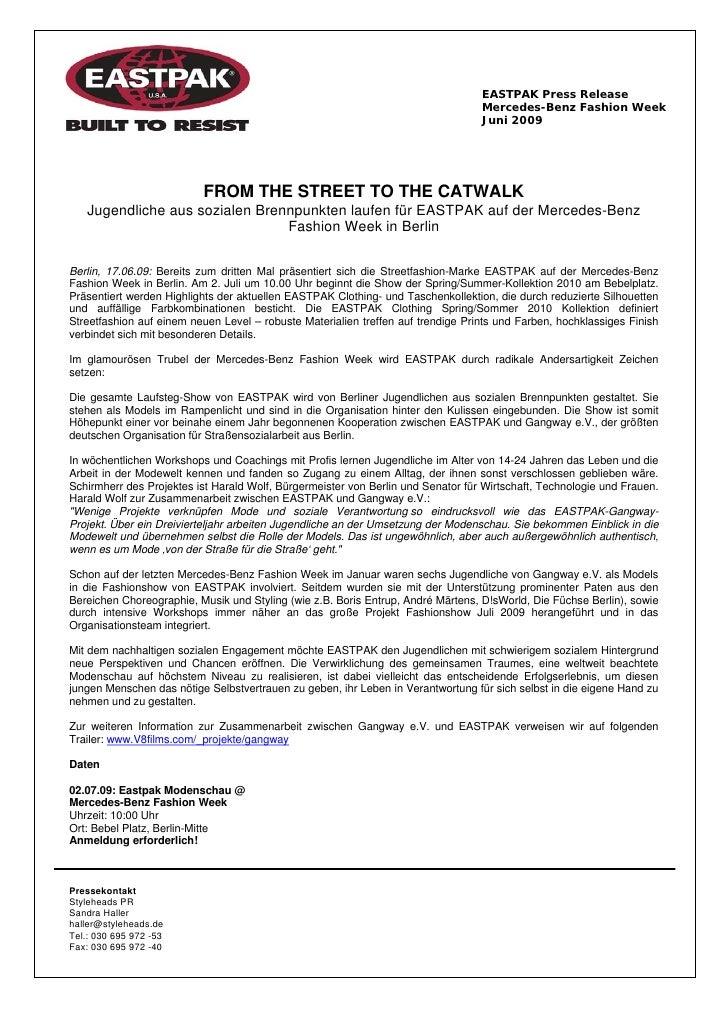 EASTPAK Press Release                                                                                  Mercedes-Benz Fashi...